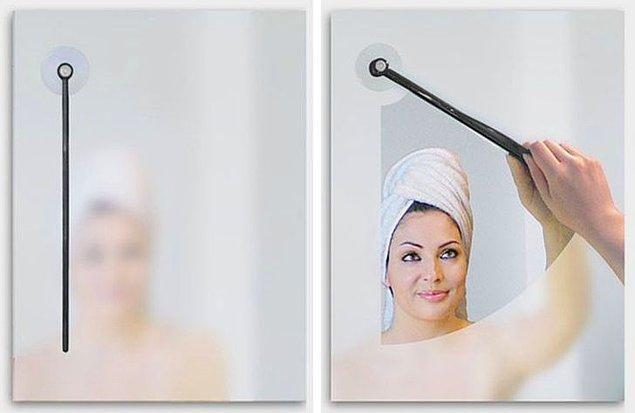 8. Buğulanan banyo camları için tasarlanan araba sileceği benzeri bu aparatlar: