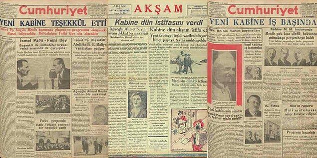 """Aynı günlerde hayatı boyunca İsmet İnönü'ye muhalefet edecek olan Arif Oruç, çıkardığı 'Yarın' gazetesinde, """"Atatürk, Cumhurbaşkanlığını bırakmalı ve Başbakan olmalıdır."""" yazar."""