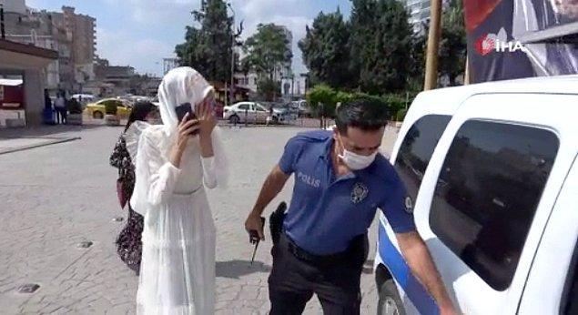 Ancak Ceylan B. evlenmek istemediği için tören sırasında polisi aradı.