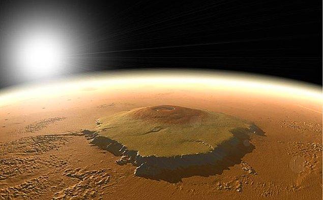 7. 25 kilometre yüksekliği ve 600 kilometre genişliğiyle Mars'taki Olympus Mons, Güneş Sistemi'ndeki tüm dağlardan daha yüksektir. Everest'in yaklaşık 3 katı boyundadır.