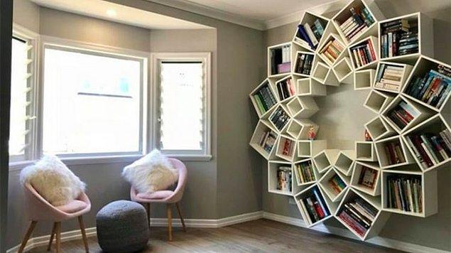 10. Yaratıcılık ruhumda var kitaplığımda da olsun diyenlere özel bir kitaplık modeli.