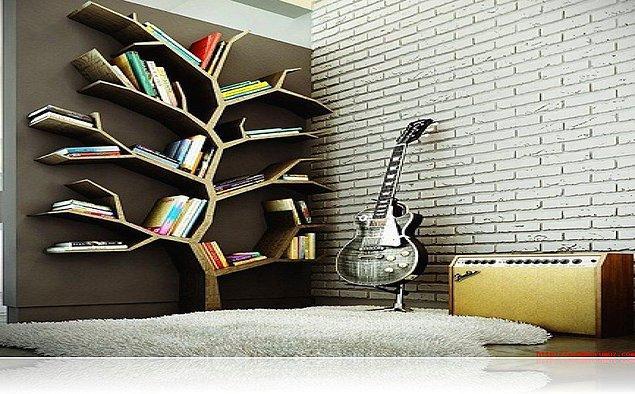11. Yine yaratıcılığın konuştuğu ağaç görünümü veren bir kitaplık.
