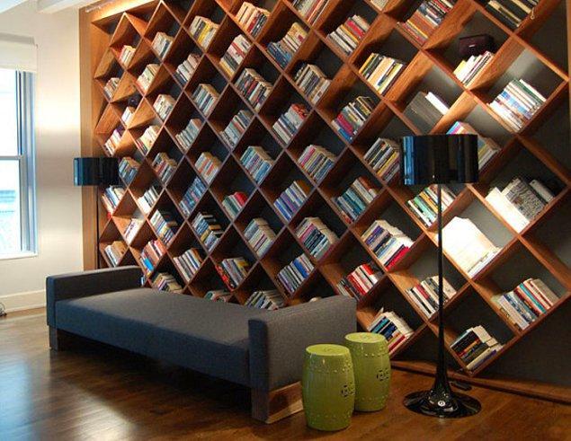 8. Bal peteği görüntüsü veren bu muhteşem kitaplık tüm ev ve odalara çok yakışmaz mı?
