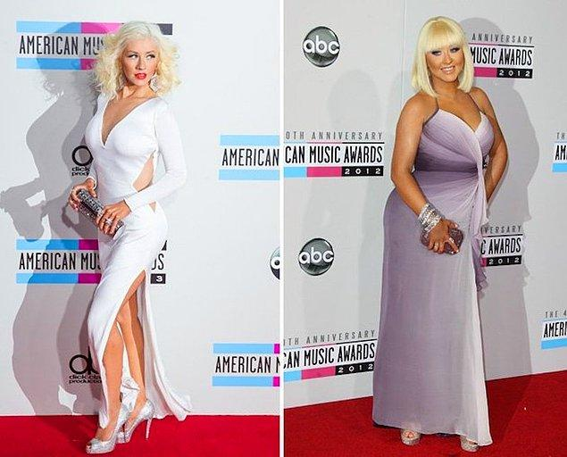 15. Christina Aguilera hamilelikte aldığı 35 kiloyu diyetle ve emzirerek kısa bir sürede vermişti.