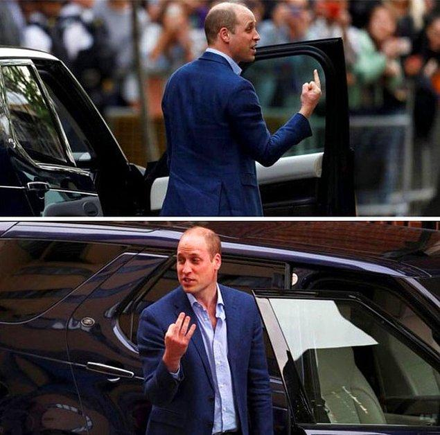 3. Prens William'ın orta parmağını gösteriyormuş gibi görünen bu fotoğraf, tamamen açıyla alakalı.