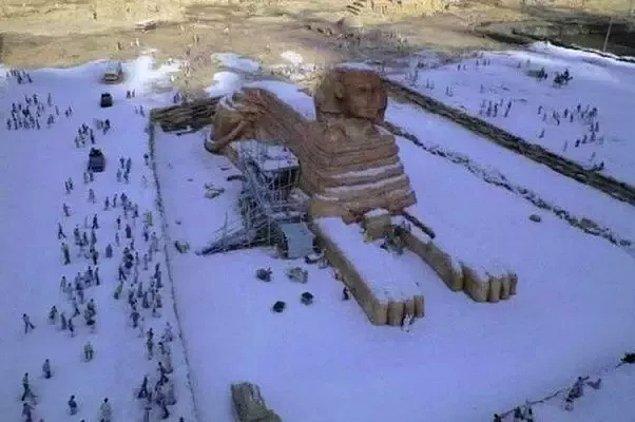 9. Kahire'ye onlarca yılın ardından ilk kez kar yağdığı iddia edilerek paylaşılan bu fotoğraftaki gerçek değil.