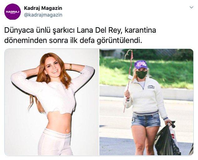 Bu sefer de Lana Del Rey karantina sonrası kilo aldığı bir fotoğrafıyla gündeme düştü. Gördüğünüz gibi kilo almış, hani göremediyseniz yanına zayıf hali de konmuş...