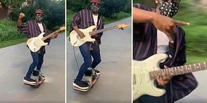 Dünyanın En Cool İnsanı Olabilir: Elektrikli Kaykay ile Elektro Gitar Çalan Adamın Muhteşem Anları