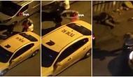 İstanbul'da Alkollü Olduğu İddia Edilen Müşterisini İki Yumrukla Deviren Taksicinin Olay Anı Görüntüleri