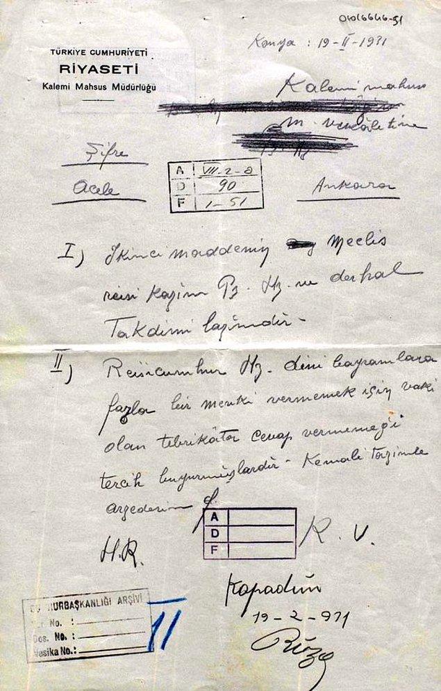 İddiaya kaynak olarak 1931 tarihli bu belge gösterilebilir. Gazi Paşa, cumhurbaşkanlığı bünyesinde dini bayramlara yer vermemeyi tercih etmektedir.