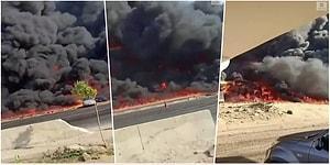Mısır'daki Bir Otoyol Üzerinde Petrol Boru Hattında Çıkan Yangından Dehşet Verici Görüntüler
