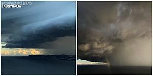 Avustralya'da Fırtınayla Beraber Gökyüzünü Kaplayan Devasa Kara Bulutların Dehşet Verici Görüntüsü