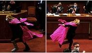 Yasa Tasarısı Kabul Edildiği İçin Pembe Peleriniyle Sevinç Gösterisi Yapan Milletvekili