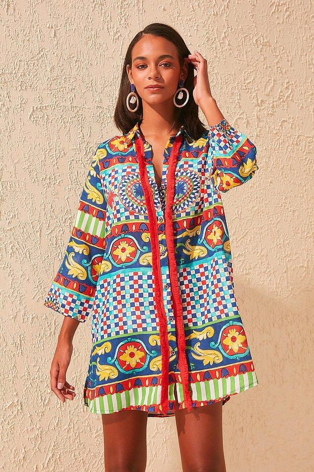 3. Giy-çık bir gömlek elbise, harika bir desenle...