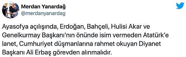 Erbaş'ın ifadelerine sosyal medyadan yoğun tepki var. Atılan onbinlerce tweet ile Twitter'da Türkiye'nin bir numaralı gündem maddesi oldu...