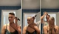 Kanser Olan Eşinin Saçlarını Kesen Adamın Kendi Saçlarını da Kestiği Anlarda Yaşanan Duygu Dolu Sahne