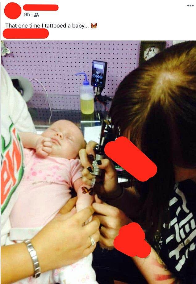 3. Bebeğine dövme yaptıran bir anne ve ona dövme yapmayı kabul edip bunu yayınlayan bir dövme sanatçısı...