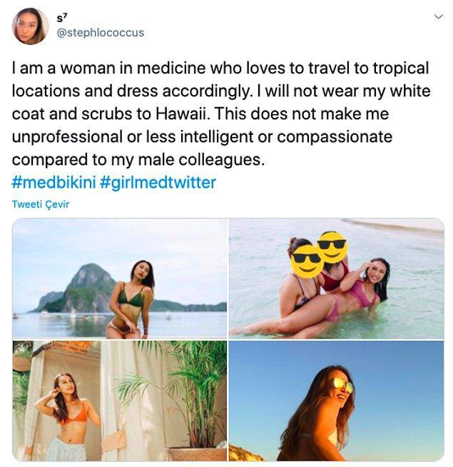 """""""Ben tropikal yerleri ziyaret etmeyi seven ve ona göre giyinen bir tıp çalışanıyım. Hawaii'de beyaz önlüğümü giymeyeceğim. Bu beni erkek meslektaşlarıma göre daha az profesyonel yapmaz."""""""