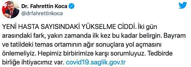 """Sağlık Bakanı Koca: """"Bayram ve tatildeki temas ortamının ağır sonuçlara yol açmasını önlemeliyiz"""""""
