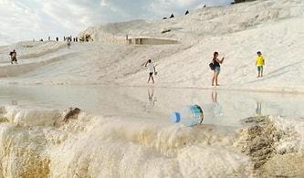 Beyaz Cennet Pamukkale'de İçler Acısı Manzara: Travertenlerin Üzerine Maskeler Atıldı