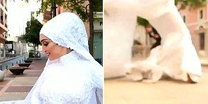 Beyrut'ta Sokakta Düğün Fotoğrafı Çekilirken Patlamanın Ortasında Kalan Gelin ve O Korku Dolu Anlar!