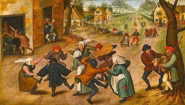 14. 1518 tarihinde Strazburg'da yaşayan Frau Troffea adlı bir kadın, birden sokak ortasında ahenkle dans etmeye başladı. Dans ede ede Strazburg sokaklarını gezmeye devam edince ailesi dahil birçok kişi onu durdurmaya çalıştı.