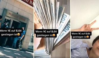 Euro'nun 8,6 TL Olmasını Fırsat Bilip Bozdurduğu Paralarla TikTok Videosu Çeken Gurbetçinin Tepki Çeken Görüntüleri