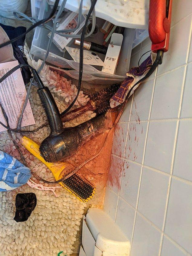 """6. """"6 yaşındaki oğlumuz eşimin makyaj malzemelerini dağıtmış ve daha sonra da saç kurutma makinesini açmış."""""""