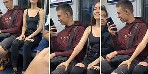 Tanımadığı Erkeklerin Bacaklarına Elini Koyarak Tepkilerini Ölçen Kadın