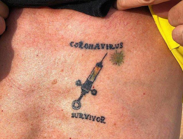 16. Koronavirüsü atlatan birinin yaptırdığı hatıra dövmesi: