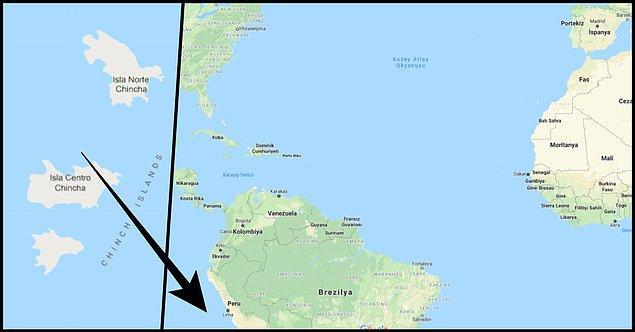 Tahminimce ilk defa adını duyduğunuz Chincha Adaları'nın yerine bir bakalım istedim. Adaların toplam yüz ölçümü aşağı yukarı 2,5 kilometrekare ediyor ve Peru'nun 21 kilometre batısında kalıyor.