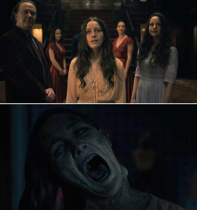1. Tepedeki Ev dizisinde, Nell'in aslında 'The Bent-Neck Lady' olduğunu fark ettiği sahne.