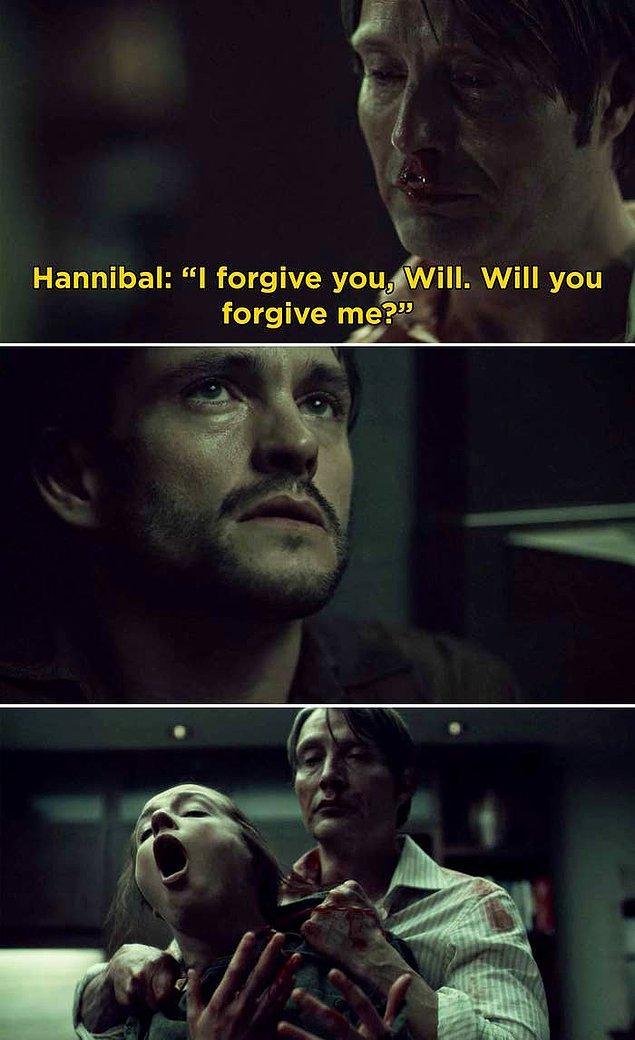 2. 'Hannibal'da, Hannibal'ın Will'e onu affedebileceğini sorduğu ve sonrasında beklenmedik bir anda Abigail'i öldürdüğü sahne.