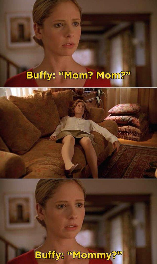 4. 'Buffy the Vampire Slayer'da, Buffy'nin annesi Joyce'un aniden ölmesi ve Buffy'nin annesinin ölü bedenini bulduğu sahne.