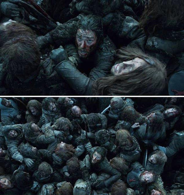 6. 'Game of Thrones'da, 'Battle of the Bastards' esnasında Jon'un yüzlerce vücut arasında kaldığı o sahne.