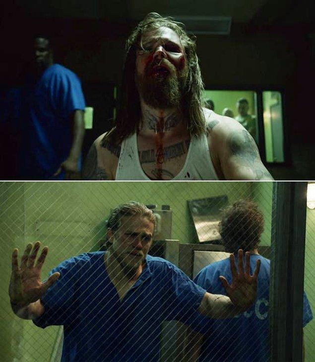14. 'Sons of Anarchy'de, Opie'nin ölesiye dövülmeden önce Jax'e son kez baktığı o sahne.