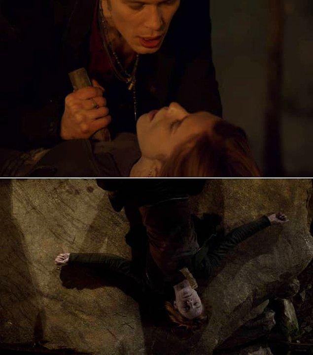 16. 'The Vampire Diaries'de, Klaus'un Jenna'yı melez laneti kırmak için öldürdüğü sahne.