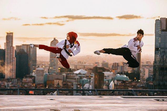 Red Bull sporcuları Shin Min Cheol ve Kübra Dağlı ile Red Bull Uçan Tekme