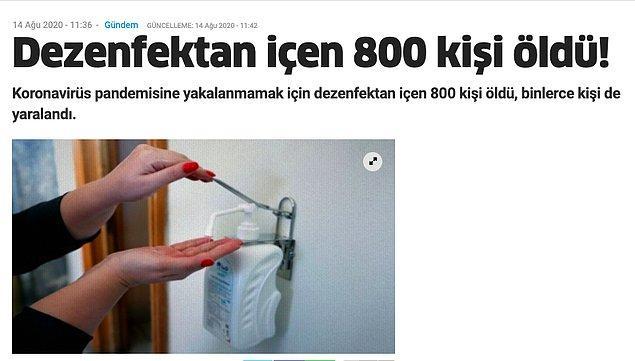 """1. """"Covid-19'dan korunmak için dezenfektan tüketen 800 kişinin öldüğü iddiası"""""""