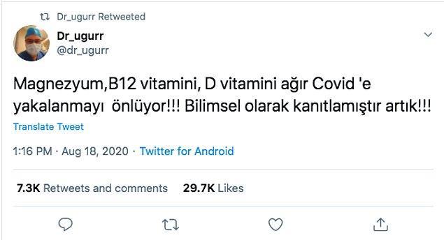 """2. """"Magnezyum, B12 ve D vitaminlerinin Covid-19'un ağır geçmesini önlediğinin bilimsel olarak kanıtlandığı iddiası"""""""