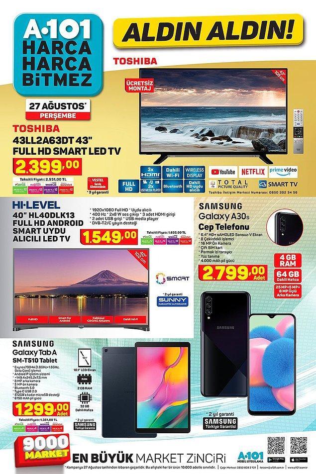 2 farklı televizyon ve 2 farklı telefon uygun fiyat ve taksit seçenekleriyle 27 Ağustos'da A101'lerde olacak.