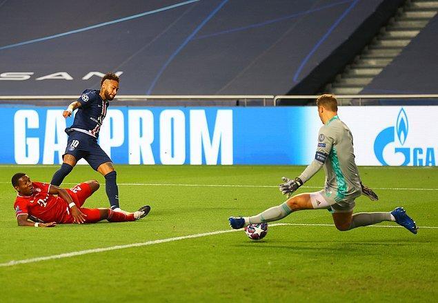 Manuel Neuer'in Neymar'ın yüzde yüzlük gol pozisyonunda gole izin vermediği