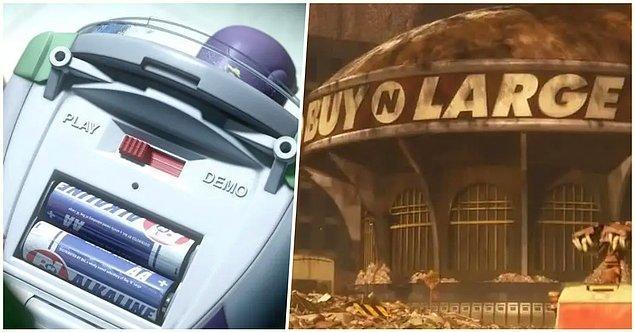 2. 'Oyuncak Hikayesi 3' filmindeki karakterler Buzz Işık Yılı'nı yeniden kurmaya çalışırken pillerinin 'Buy N Large' anlamına gelen 'B N L' tarafından üretilmesi ve aynı şirketin 'Wall-E'de de olması.