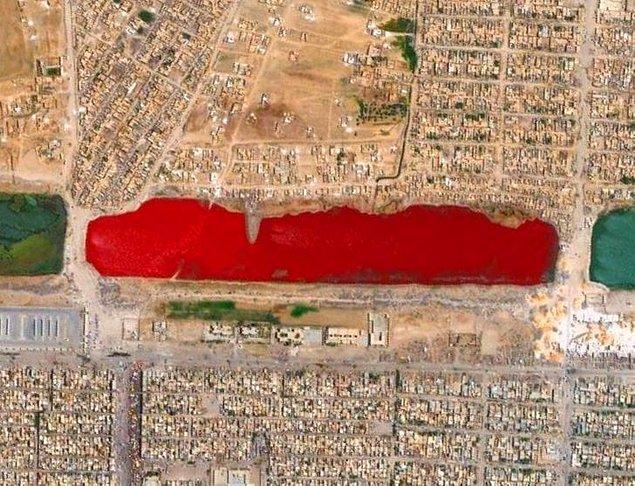 15. Irak'ta kırmızı bir göl.