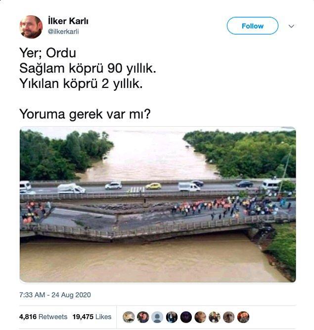 """3. """"Fotoğrafın Ordu'da sağlam kalan eski ve yıkılan yeni köprüleri gösterdiği iddiası"""""""