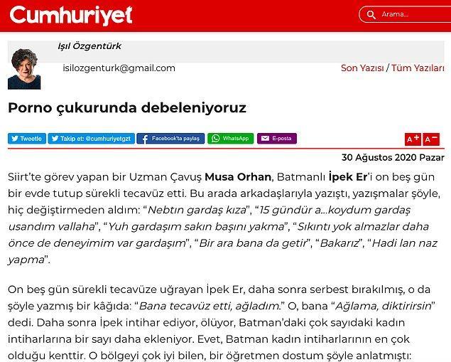 Tüm bunlara dair bir yazı yazan Cumhuriyet gazetesi yazarı Işıl Özgentürk, bir köşe yazısında ülkemizin bir bataklığa dönüştüğünü anlattı.