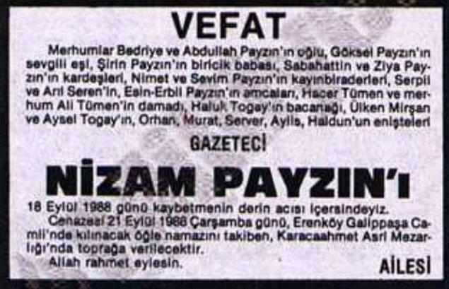 Eleştiri sonrası Payzın, MHP'li yönetici tarafından babasının ölüm ilanı ile tehdit edildi.
