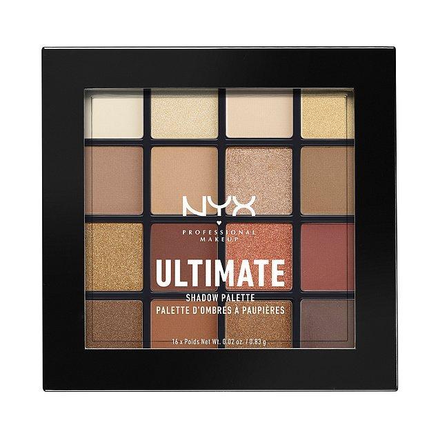 1. NYX Professional Makeup'ın çok sevilen ve çok satan far paleti Ultimate Shadow Palette, içerisindeki 16 büyüleyici renk tonu ile göz makyajında istediğin görünüme kavuşmanı sağlayacak!