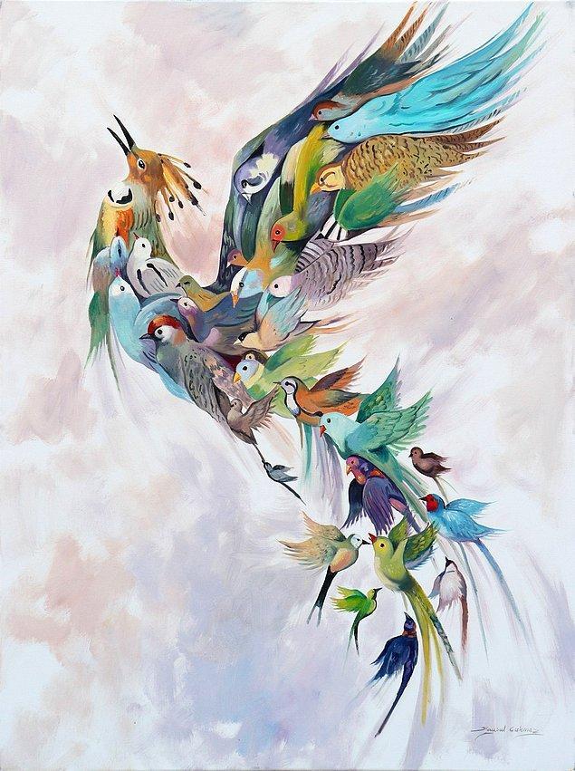 Simurg söylencesindeyse, kalabalık bir kuş topluluğu Kaf Dağı'nın arkasına geçip kuşların yücesi sayılan Simurg'u bulmaya çalışıyor.