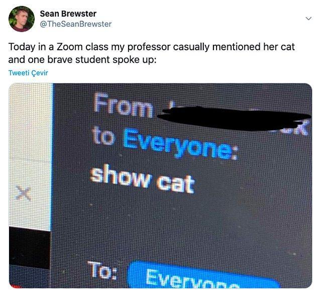 """12. """"Bugün Zoom sınıfında hocamız kedisinden bahsetti ve cesur bir öğrenci konuştu:"""""""